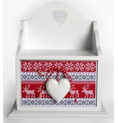 White wooden storage drawer with traditional Christmas design