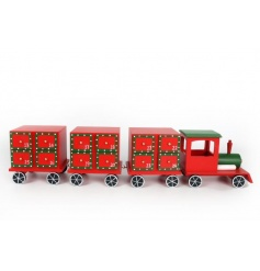 Wooden advent train in traditional red and green colours