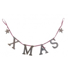 Wooden hanging Christmas garland hung with gingham ribbon with stars