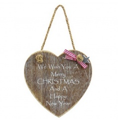 Hanging heart wooden plaque with traditional Christmas quote