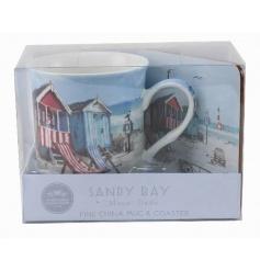 Mug and coaster set by Leonardo with popular Sandy Bay design
