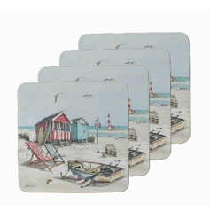 Set of 4 coasters by Leonardo with popular Sandy Bay design