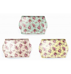 An assortment of three colourful trays in a Ditsy Rose design