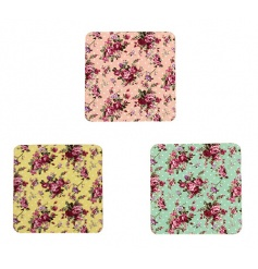 Set of four colourful coasters from the Ditsy Rose collection