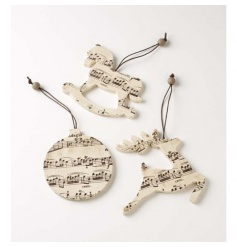 Wooden music style hanging decorations in festive shapes