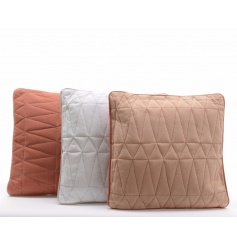 3 assorted stitched cushions in rustic colours