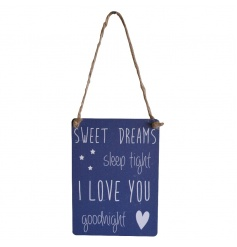 Sweet quote on a mini metal dangler sign with rustic string hanger
