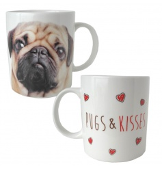 Quirky pug china mug with heart and pug design with matching gift box
