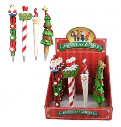 An assortment of colourful Christmas pens in a counter display unit