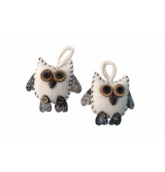 A chic white felt and bark woodland owl with a touch of sparkle.