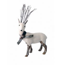 A chic grey and white standing reindeer decoration with twig antlers and bark detailing.