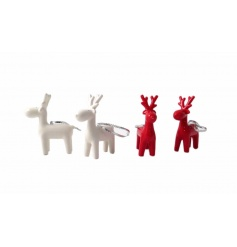 Red and white reindeer tree decorations with silver ribbon to hang.