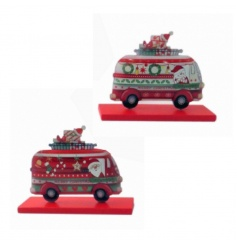 Fun and festive campervan decorations on a stand in 3 assorted designs.