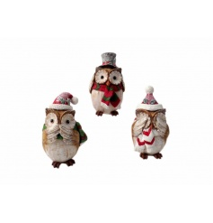 An assortment of 3 cute and quirky owl decorations with a touch of sparkle