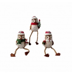 An assortment of 3 festive owl ornaments with rope legs, making fantastic shelf sitters.