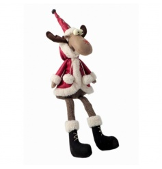 An adorable sitting reindeer decoration with a traditional red leather coat and hat.