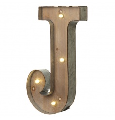 Rustic wooden letter J with LED lights