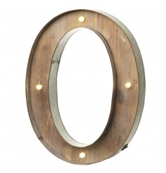 Rustic wooden letter O with LED lights
