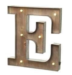 Rustic wooden letter E with LED lights