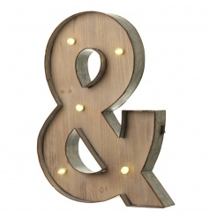 Rustic wooden letter & with LED lights