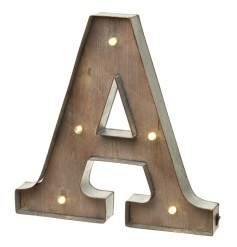 Rustic wooden letter A with LED lights