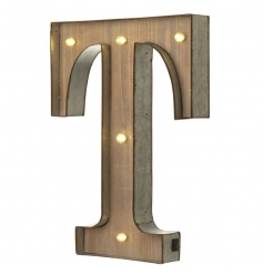 Rustic wooden letter T with LED lights