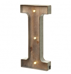 Rustic wooden letter I with LED lights