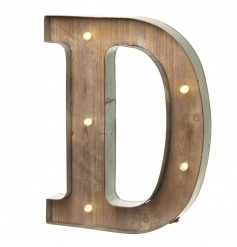 Rustic wooden letter D with LED lights