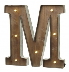 Rustic wooden letter M with LED lights