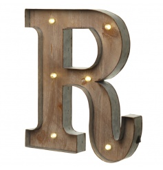 Rustic wooden letter R with LED lights