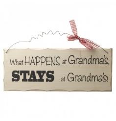 Decorative wooden sign with humorous Grandma script
