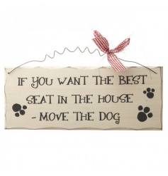 Hanging wooden sign with humorous Dog text and bow decoration to finish