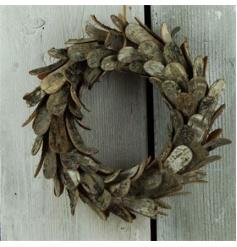 Decorative Christmas wreath in a birch bark design