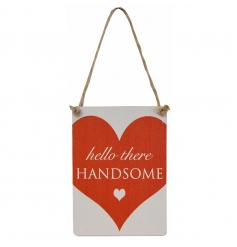 A cute red heart Hello Handsome mini metal sign with jute rope.