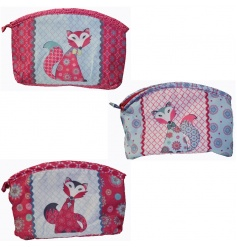 An assortment of three patchwork toilet bags with pretty fox design