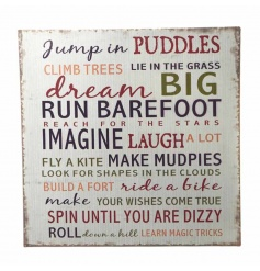 Distressed metal sign with Dream Big text