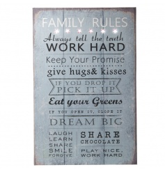 Distressed style light up sign with popular Family Rules text
