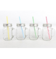 An assortment of 4 glass jars with colourful straws