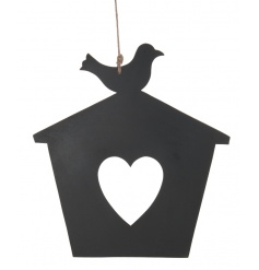 Pretty hanging chalkboard in a birdhouse design
