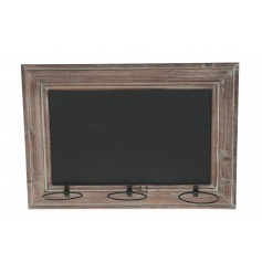 Blackboard with wooden boarder and 3 plant holders