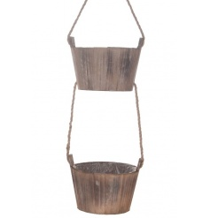 Double wooden hanging buckets with rustic rope