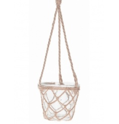 Rustic hanging glass vase with decorative jute rope netting and hanger.