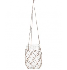A stylish mason jar vase/t-light holder hung within a chunky jute netting.
