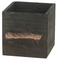 Decorative wooden storage box with rope handles