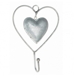 Zinc heart hook hanger, a pretty and practical storage item