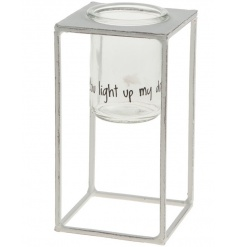 "Metal and glass candle holder with sweet quote reading ""You Light Up My Day"""