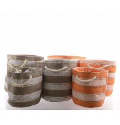 Set 3 metallic baskets in taupe and orange colours with gold thread and stripe design.