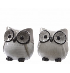 2 assorted decorative owls in chic white and grey colours.