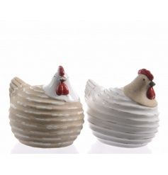 2 assorted charming chickens with a stripe design and semi-glaze detailing.