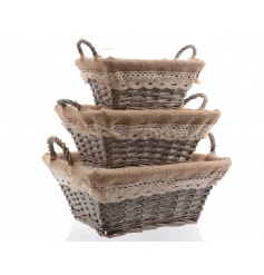 A set of 3 charming willow baskets with hessian, crochet trim and double handles.
